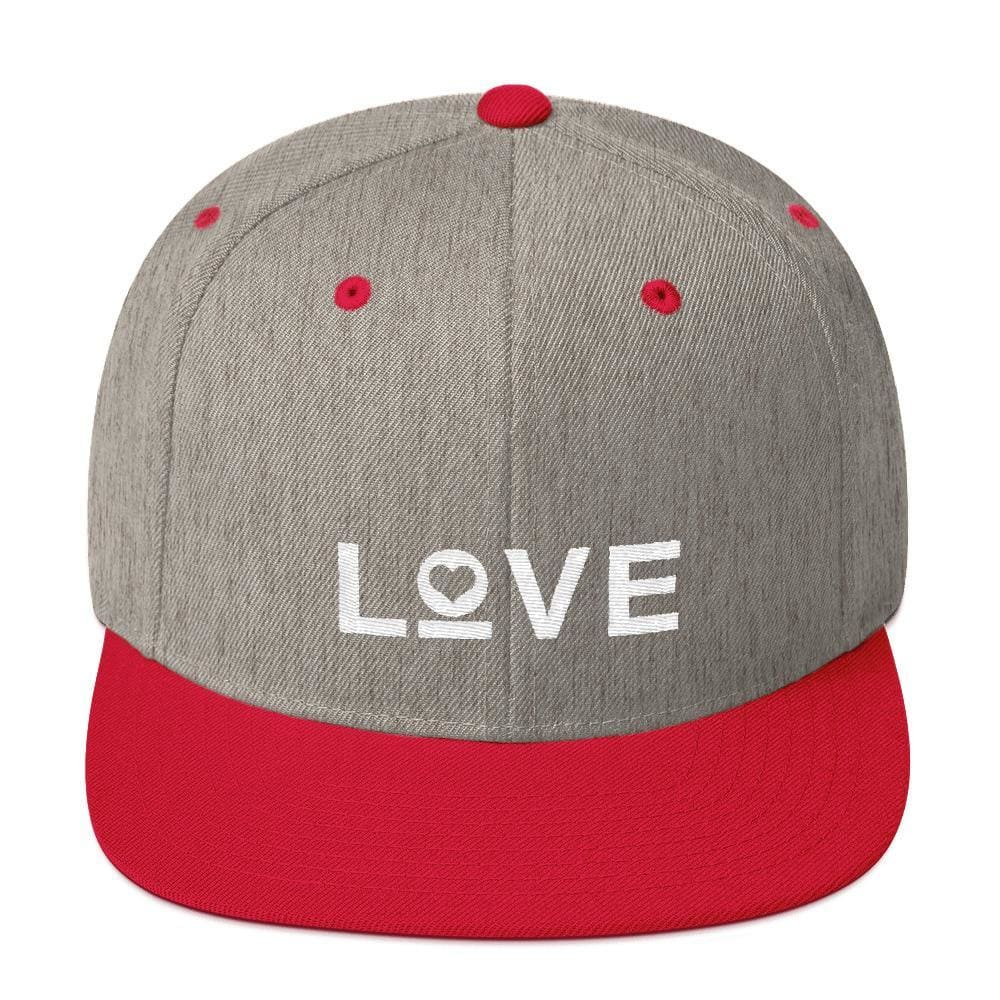 Love Snapback Hat with Flat Brim - One-size / Heather Grey/ Red - Hats