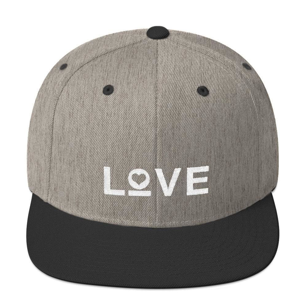Love Snapback Hat with Flat Brim - One-size / Heather/Black - Hats