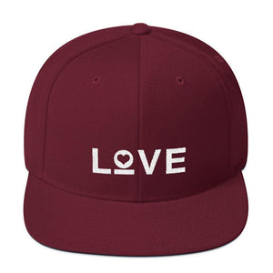 Love Snapback Hat with Flat Brim - One-size / Maroon - Hats