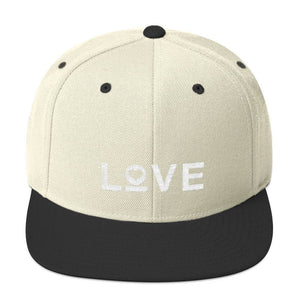 Love Snapback Hat with Flat Brim - One-size / Natural/ Black - Hats