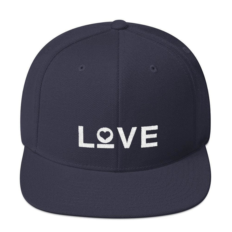 Love Snapback Hat with Flat Brim - One-size / Navy - Hats
