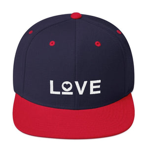 Love Snapback Hat with Flat Brim - One-size / Navy/ Red - Hats