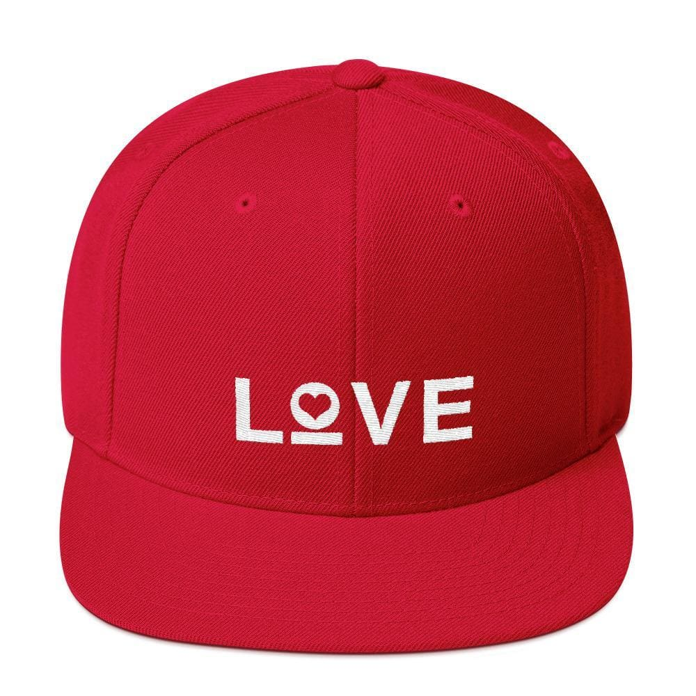 Love Snapback Hat with Flat Brim - One-size / Red - Hats