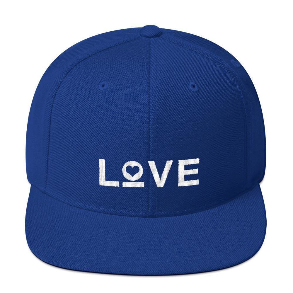 Love Snapback Hat with Flat Brim - One-size / Royal Blue - Hats