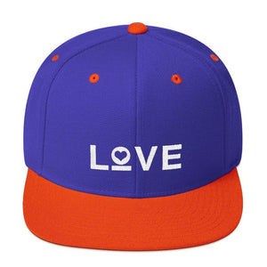 Love Snapback Hat with Flat Brim - One-size / Royal/ Orange - Hats