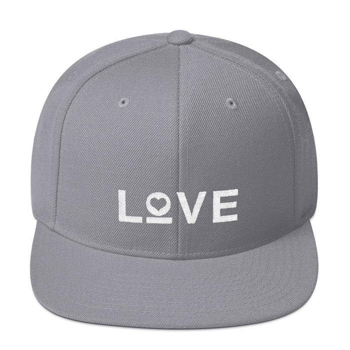 Love Snapback Hat with Flat Brim - One-size / Silver - Hats
