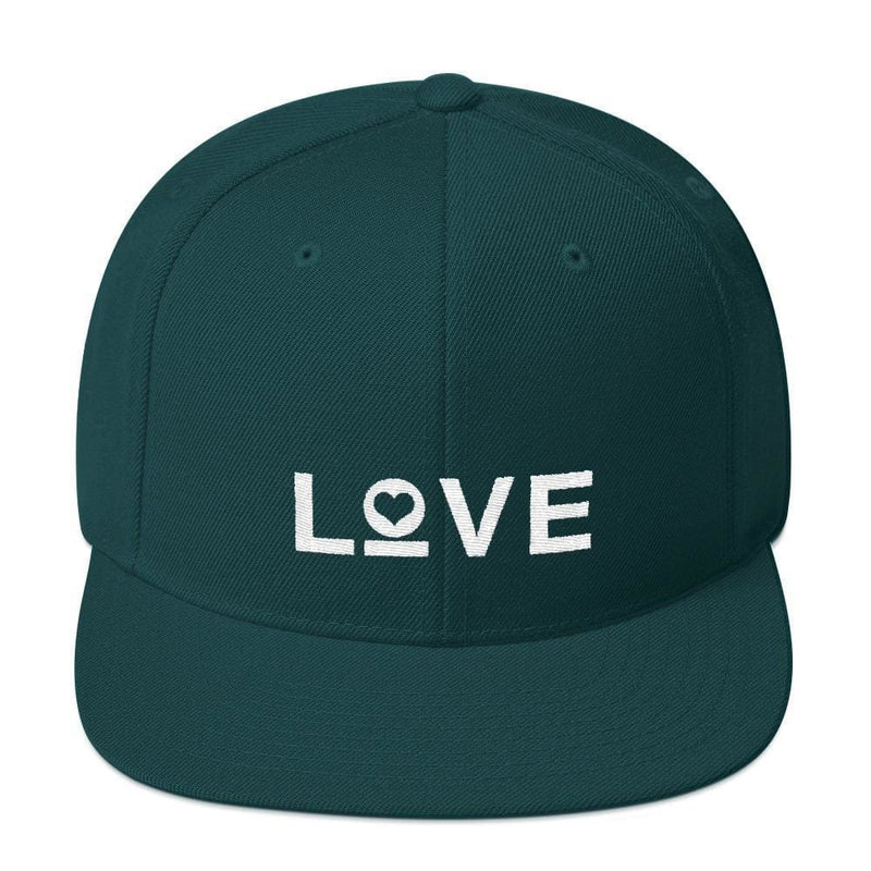 Love Snapback Hat with Flat Brim - One-size / Spruce - Hats