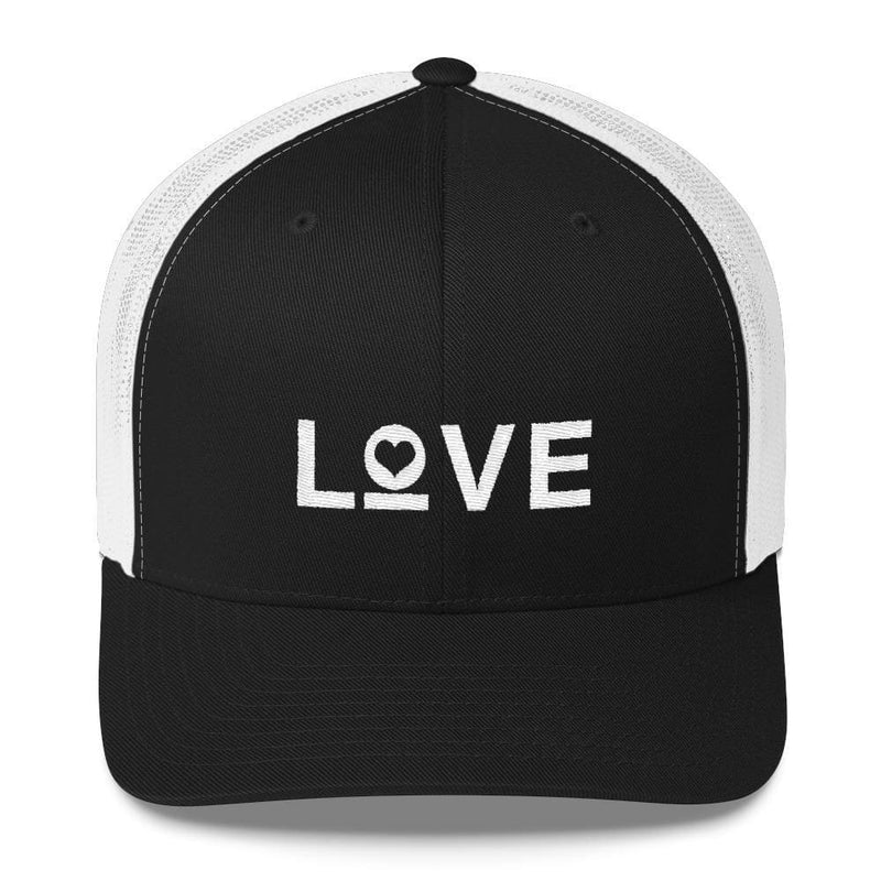 Love Snapback Trucker Hat Embroidered in White Thread - One-size / Black/ White - Hats