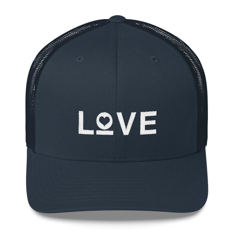 Love Snapback Trucker Hat Embroidered in White Thread - One-size / Navy - Hats