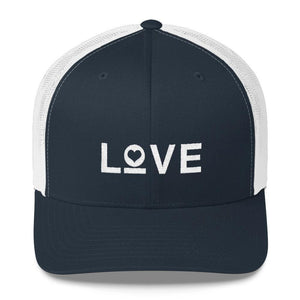 Load image into Gallery viewer, Love Snapback Trucker Hat Embroidered in White Thread - One-size / Navy/ White - Hats