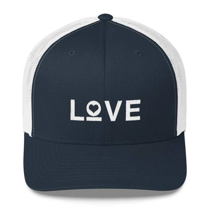 Love Snapback Trucker Hat Embroidered in White Thread - One-size / Navy/ White - Hats