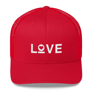 Load image into Gallery viewer, Love Snapback Trucker Hat Embroidered in White Thread - One-size / Red - Hats