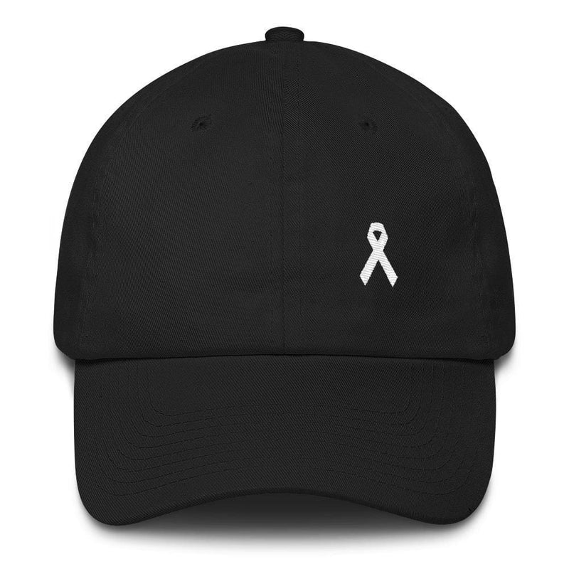 Lung Cancer Awareness White Ribbon Dad Hat - One-size / Black - Hats