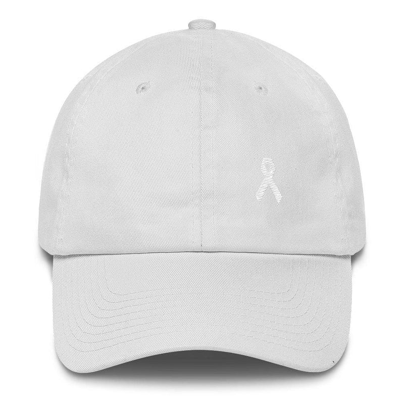 Lung Cancer Awareness White Ribbon Dad Hat - One-size / White - Hats