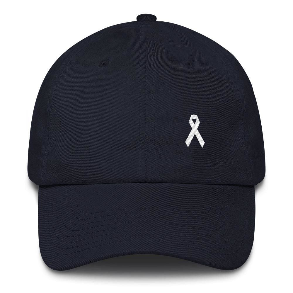 Lung Cancer Awareness White Ribbon Dad Hat - One-size / Navy - Hats