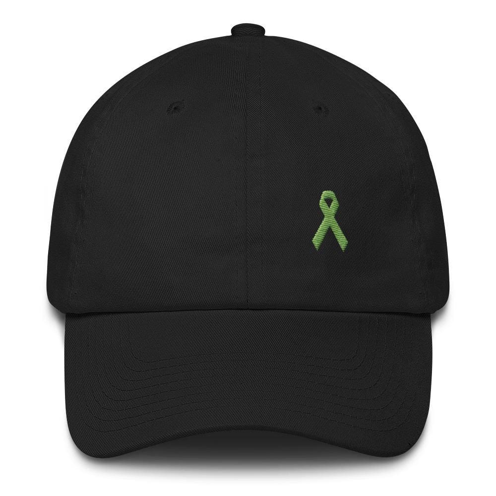 Lymphoma Awareness Adjustable Hat with Green Ribbon - One-size / Black - Hats