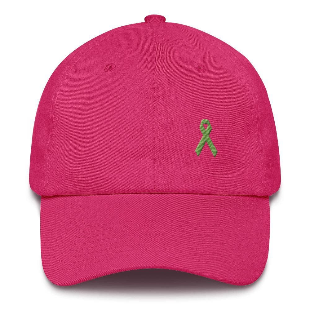 Lymphoma Awareness Adjustable Hat with Green Ribbon - One-size / Bright Pink - Hats