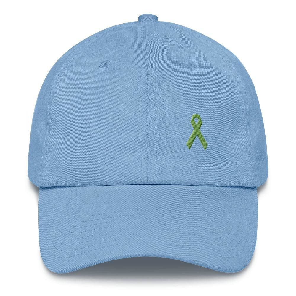 Lymphoma Awareness Adjustable Hat with Green Ribbon - One-size / Carolina Blue - Hats