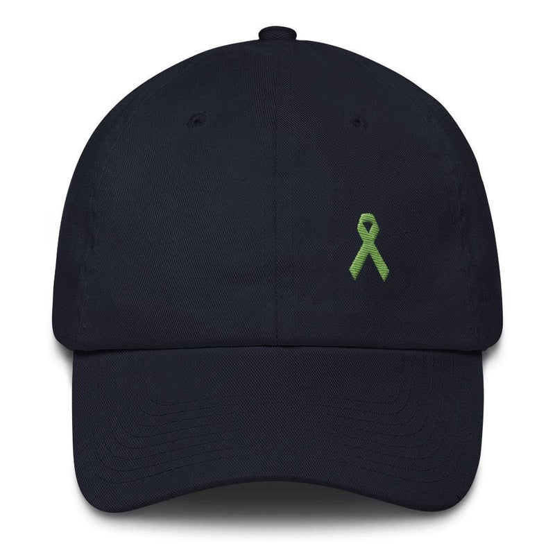 Lymphoma Awareness Adjustable Hat with Green Ribbon - One-size / Navy - Hats