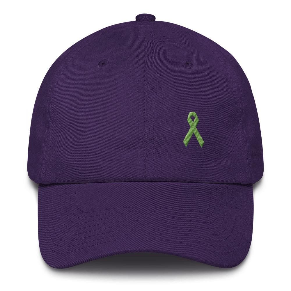 Lymphoma Awareness Adjustable Hat with Green Ribbon - One-size / Purple - Hats