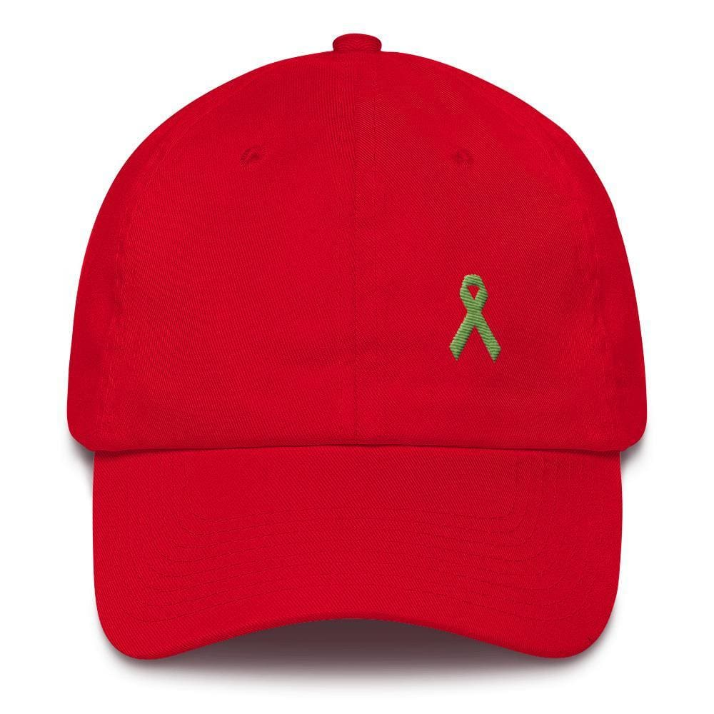 Lymphoma Awareness Adjustable Hat with Green Ribbon - One-size / Red - Hats