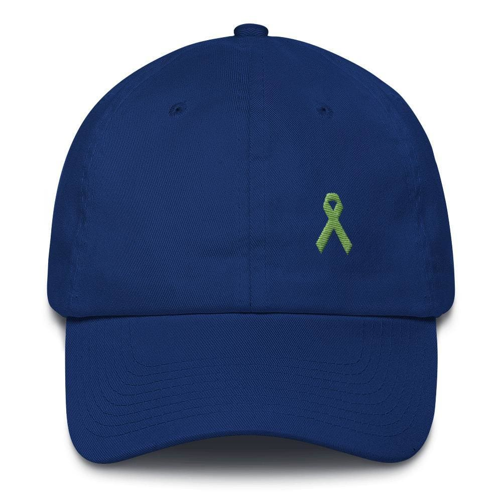 Lymphoma Awareness Adjustable Hat with Green Ribbon - One-size / Royal Blue - Hats