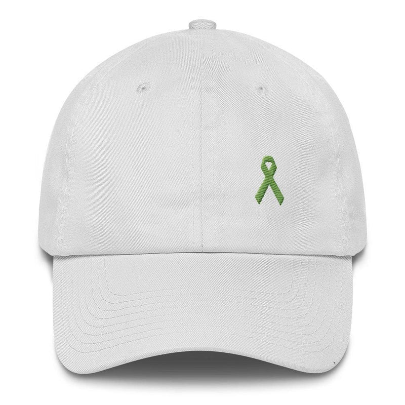Lymphoma Awareness Adjustable Hat with Green Ribbon - One-size / White - Hats