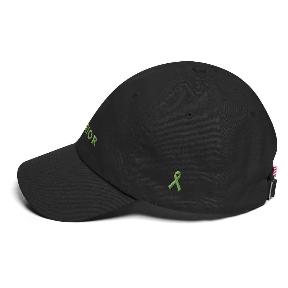Load image into Gallery viewer, Lymphoma Awareness Dad Hat with Warrior & Green Ribbon - Hats