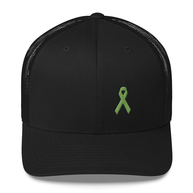 Lymphoma Awareness Snapback Trucker Hat with Green Ribbon - One-size / Black - Hats