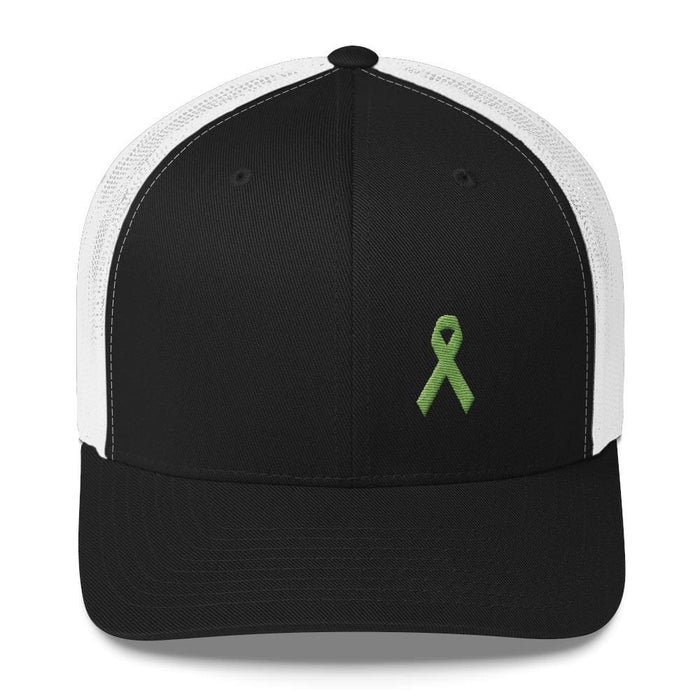 Lymphoma Awareness Snapback Trucker Hat with Green Ribbon - One-size / Black/White - Hats