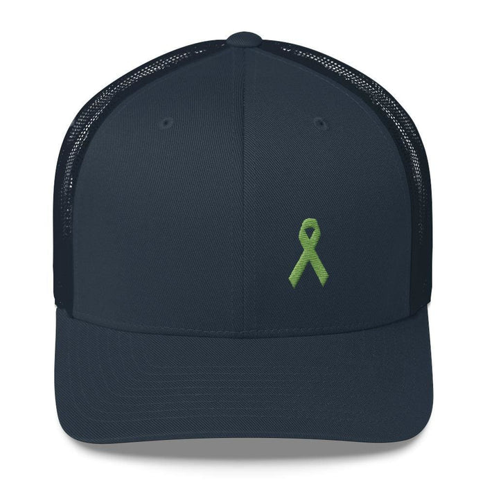 Lymphoma Awareness Snapback Trucker Hat with Green Ribbon - One-size / Navy - Hats