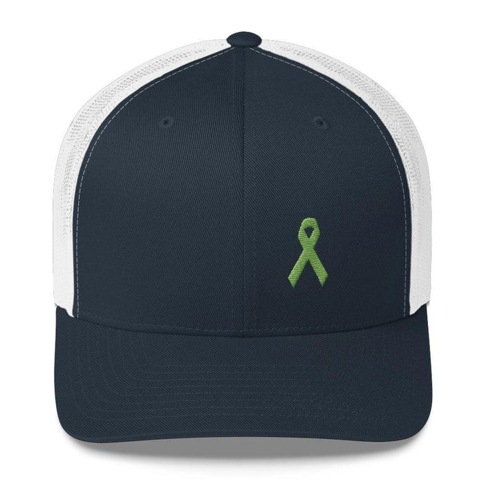 Lymphoma Awareness Snapback Trucker Hat with Green Ribbon - One-size / Navy/White - Hats