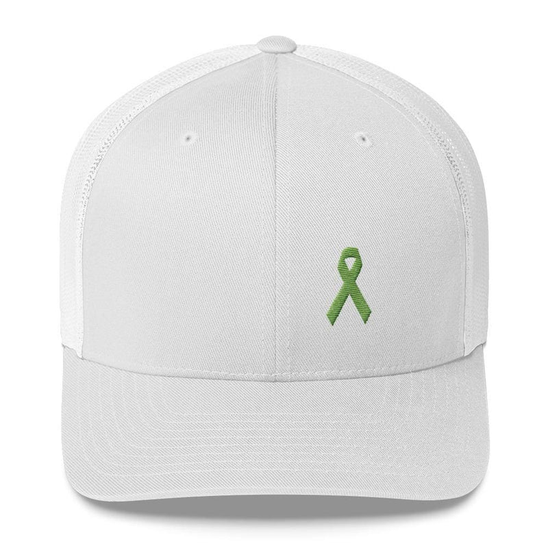 Lymphoma Awareness Snapback Trucker Hat with Green Ribbon - One-size / White - Hats