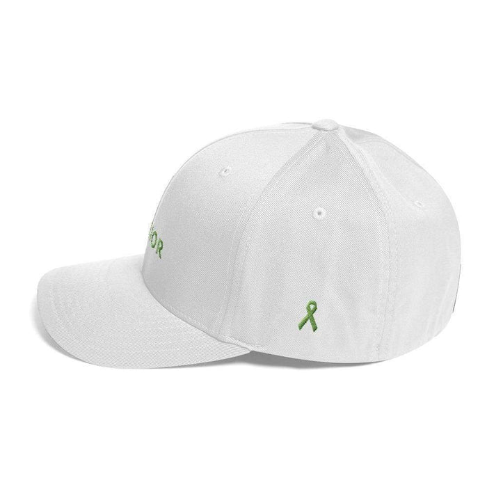 Lymphoma Awareness Twill Fitted Flexfit Hat With Warrior & Green Ribbon - Hats
