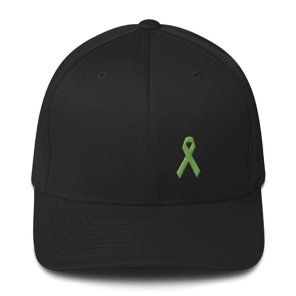 Lymphoma Awareness Twill Flexfit Fitted Hat With Green Ribbon - S/m / Black - Hats