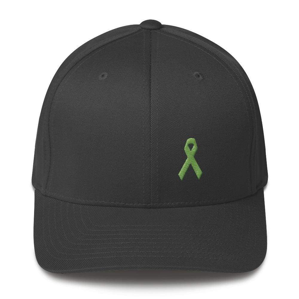 Lymphoma Awareness Twill Flexfit Fitted Hat With Green Ribbon - S/m / Dark Grey - Hats