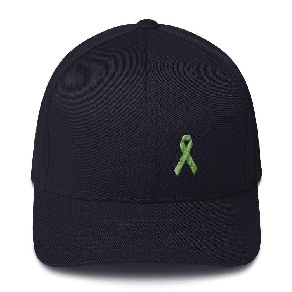 Lymphoma Awareness Twill Flexfit Fitted Hat With Green Ribbon - S/m / Dark Navy - Hats