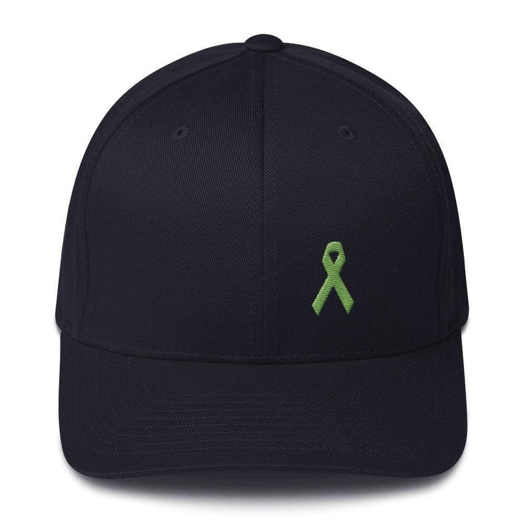 Lymphoma Awareness Twill Flexfit Fitted Hat with Green Ribbon