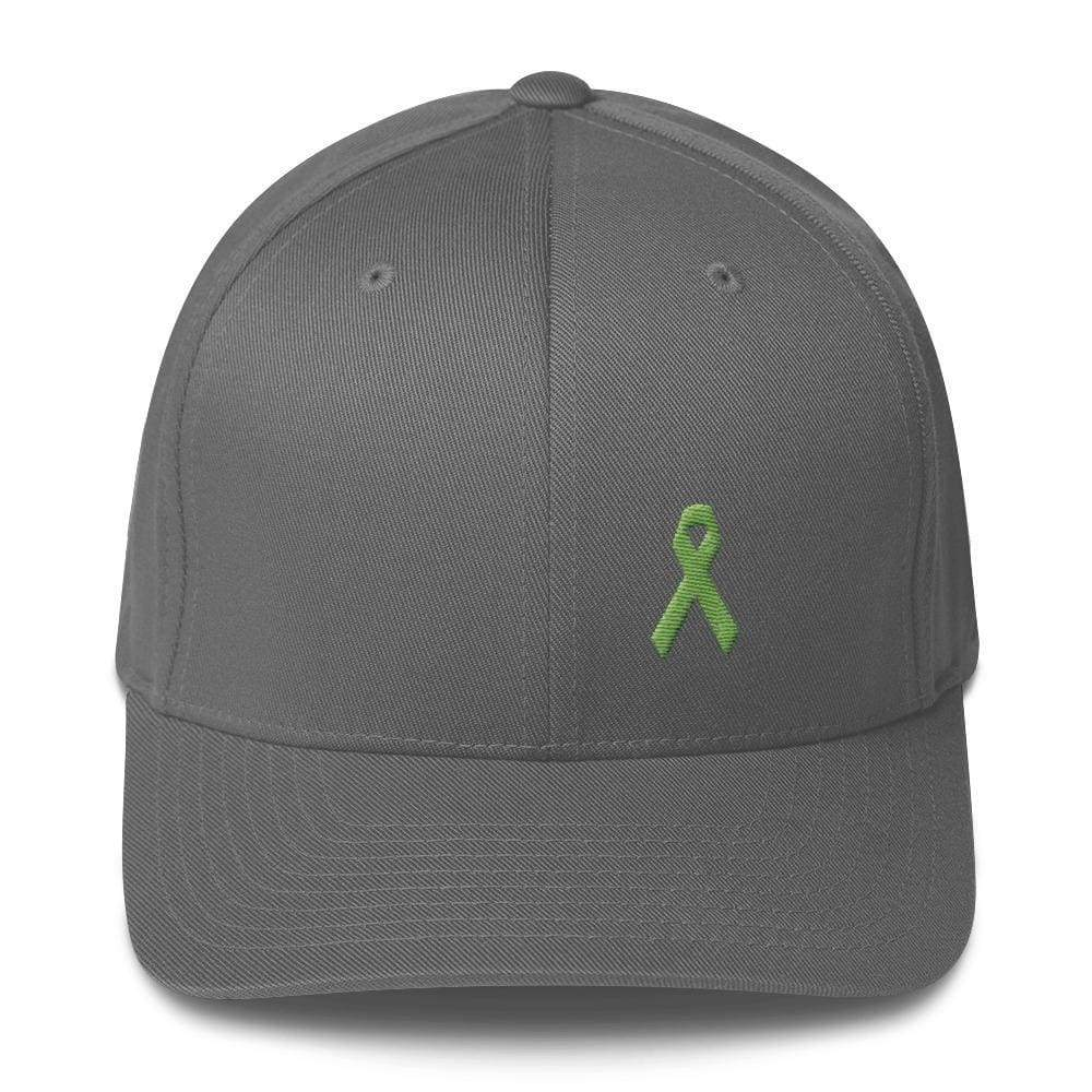 Lymphoma Awareness Twill Flexfit Fitted Hat With Green Ribbon - S/m / Grey - Hats