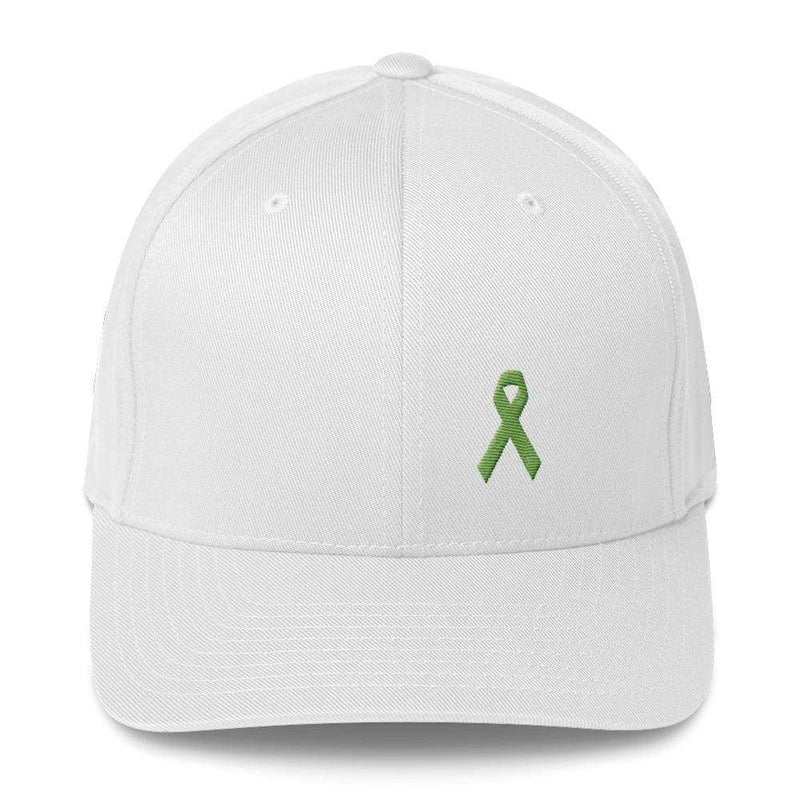 Lymphoma Awareness Twill Flexfit Fitted Hat With Green Ribbon - S/m / White - Hats