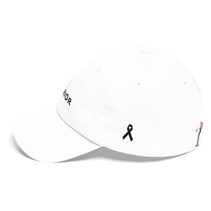Melanoma and Skin Cancer Awareness Dad Hat with Warrior & Black Ribbon - Hats