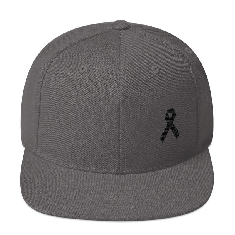 Melanoma and Skin Cancer Awareness Flat Brim Snapback Hat with Black Ribbon - One-size / Dark Grey - Hats