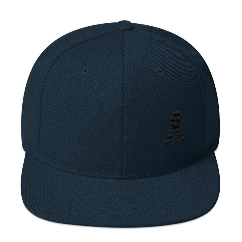 Melanoma and Skin Cancer Awareness Flat Brim Snapback Hat with Black Ribbon - One-size / Dark Navy - Hats