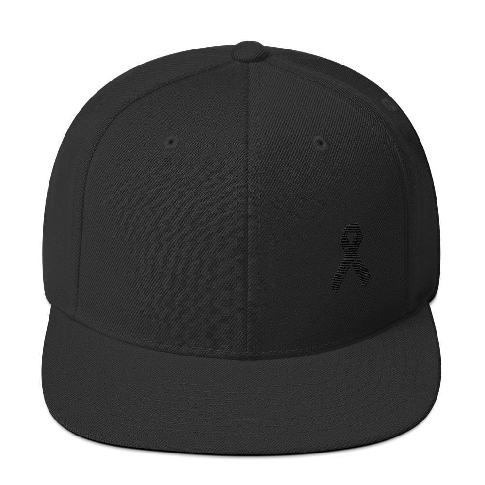 Melanoma and Skin Cancer Awareness Flat Brim Snapback Hat with Black Ribbon - One-size / Black - Hats