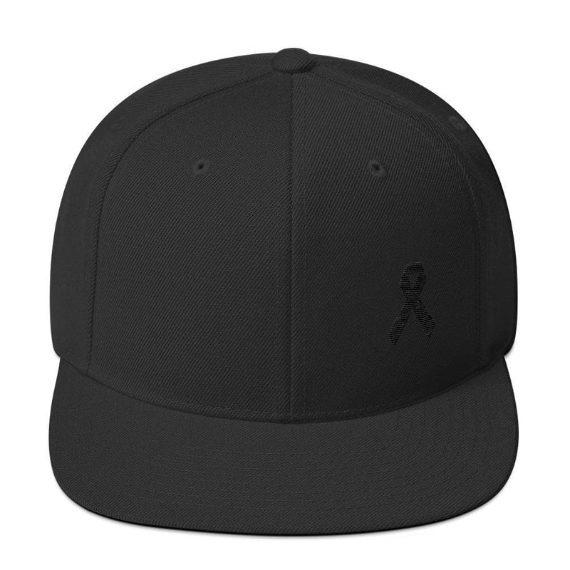 41d0b10ea3dca ... Melanoma and Skin Cancer Awareness Flat Brim Snapback Hat with Black  Ribbon - One-size ...