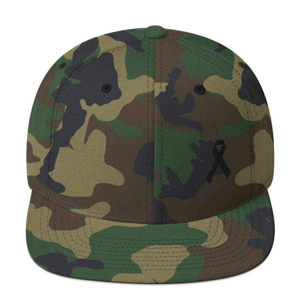 Melanoma and Skin Cancer Awareness Flat Brim Snapback Hat with Black Ribbon - One-size / Green Camo - Hats