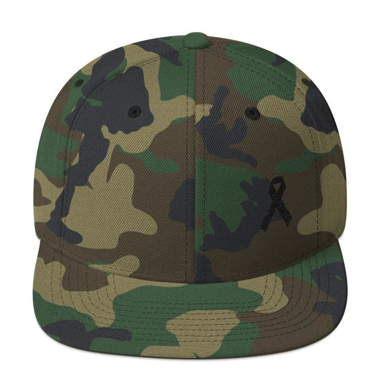 Melanoma and Skin Cancer Awareness Flat Brim Snapback Hat with Black Ribbon