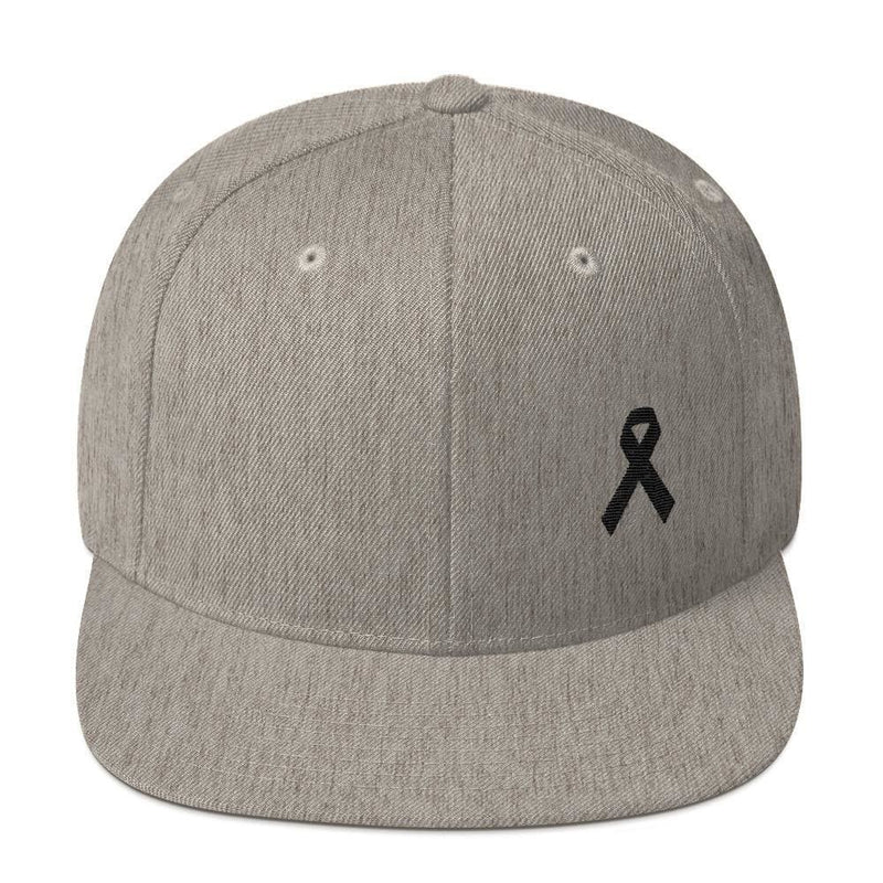 Melanoma and Skin Cancer Awareness Flat Brim Snapback Hat with Black Ribbon - One-size / Heather Grey - Hats