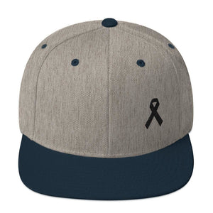 Melanoma and Skin Cancer Awareness Flat Brim Snapback Hat with Black Ribbon - One-size / Heather Grey/ Navy - Hats