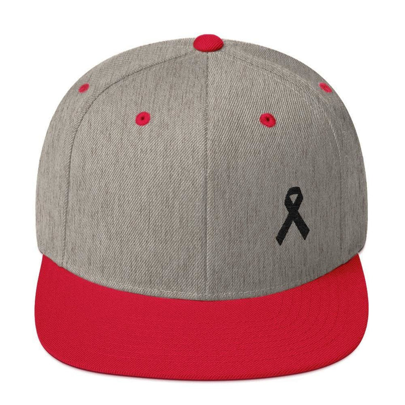 Melanoma and Skin Cancer Awareness Flat Brim Snapback Hat with Black Ribbon - One-size / Heather Grey/ Red - Hats